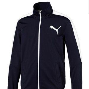 Puma Navy Sweatshirt Zip front pullover chest logo
